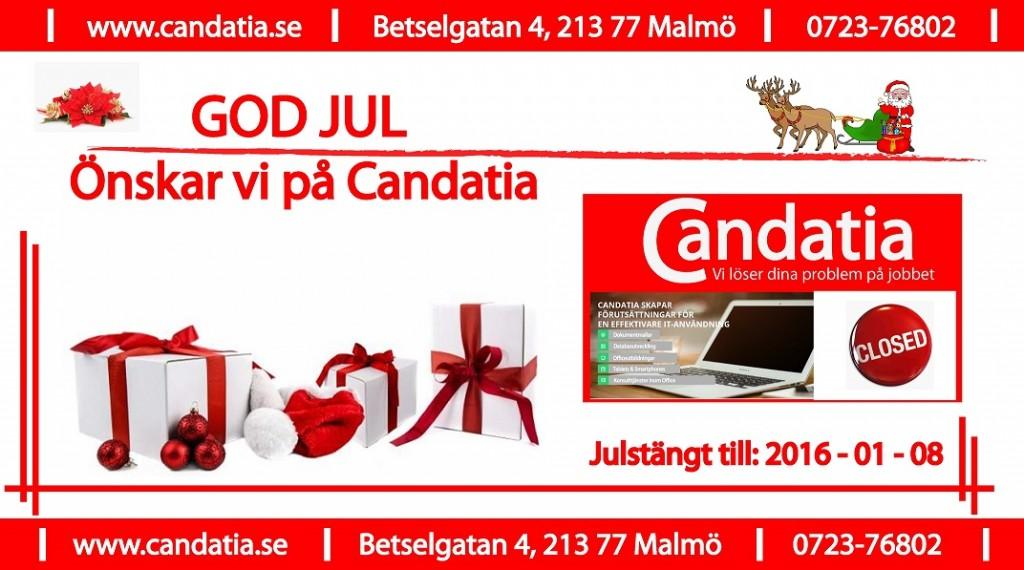 God jul önskar Candatia